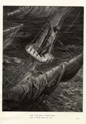 """""""And I had done a hellish thing..."""" - A plate from The Rime of the Ancient Mariner. Gustave Doré."""