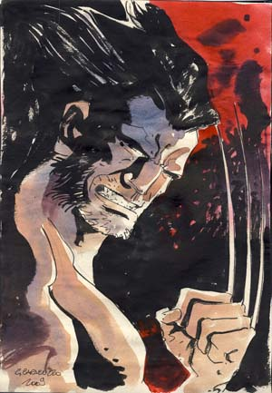 Wolverine Original Watercolor by Giancarlo Caracuzzo. Giancarlo Caracuzzo.
