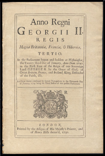 Anno Regni Georgii II Regis Magnae Britanniae, Franciae, & Hiberniae, Tertio. At the Parliament begun and holden at Westminster, the Twenty third Day of January, Anno Dom. 1727. An Act for granting Liberty to carry Rice from his Majesty's Province of Carolina in America, directly to any Part of Europe Southward of Cape Finisterre, in Ships built in and belonging to Great Britain, and navigated according to Law.