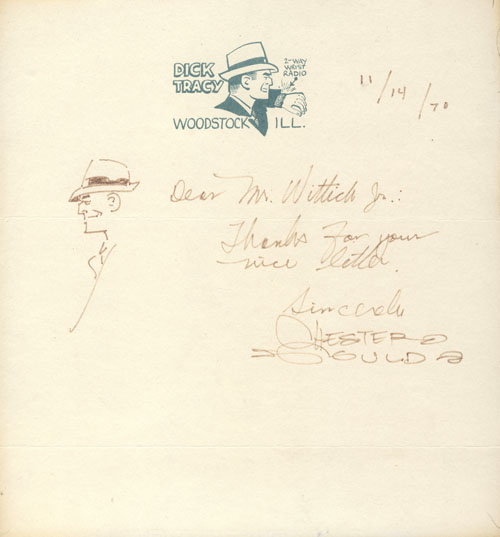 Chester Gould Autograph Letter Signed with Original Drawing of Dick Tracy. Chester Gould.