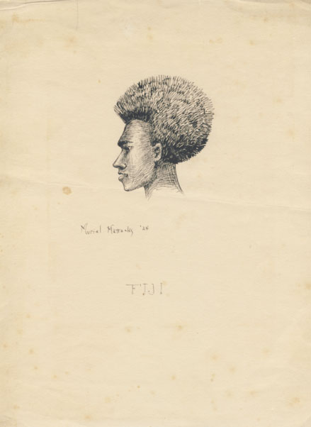 Original Drawing of a Native of the Fiji Islands. Muriel Mattocks.