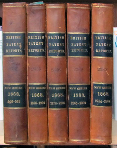 Five Volumes of British Patent Reports - New Series, 1868. Inventions.