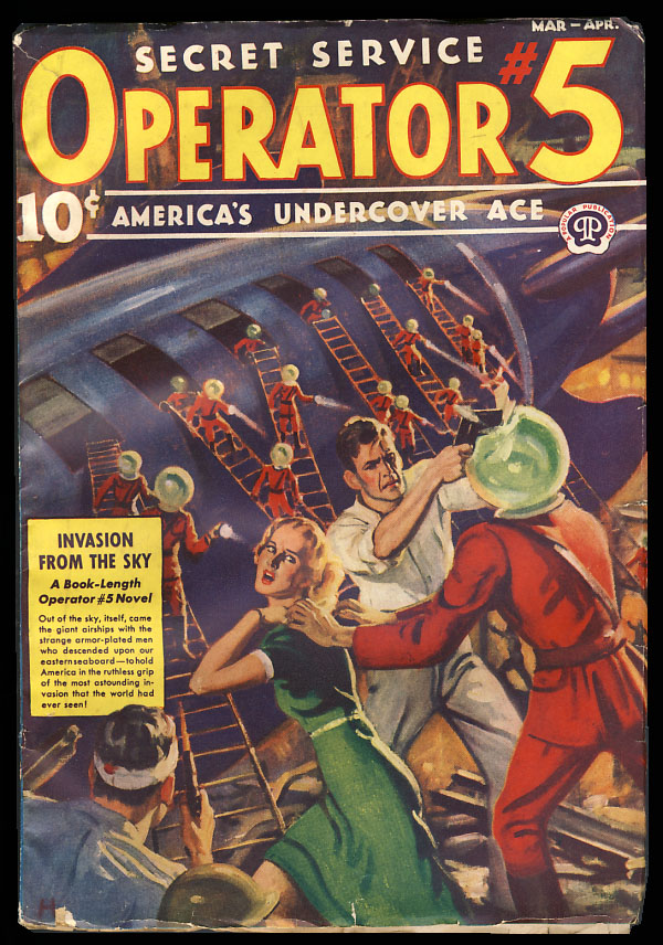 Invasion from the Sky in Secret Service Operator #5 March-April 1939. Curtis Steele, Wayne Rogers.