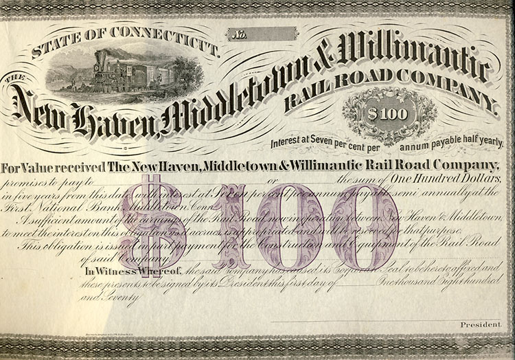 The New Haven, Middletown & Willimantic Railroad Company $100 Bond. Middletown State of Connecticut - The New Haven, Willimantic Railroad Company.