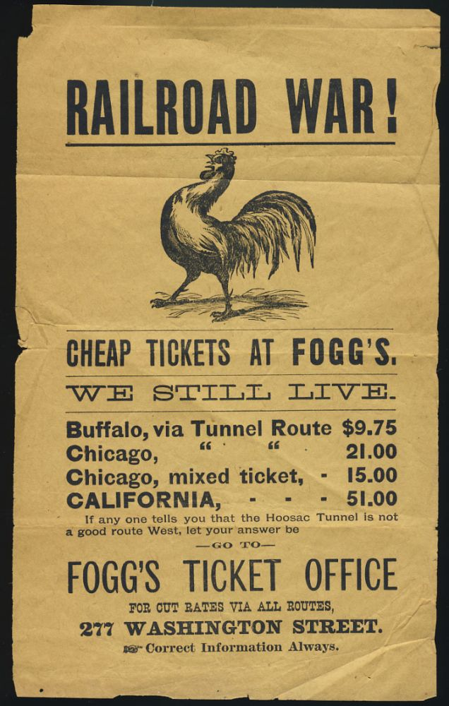 Railroad War! Advertisement for Fogg's Ticket Office in Boston. Boston State of Massachusetts - Fogg's Ticket Office.