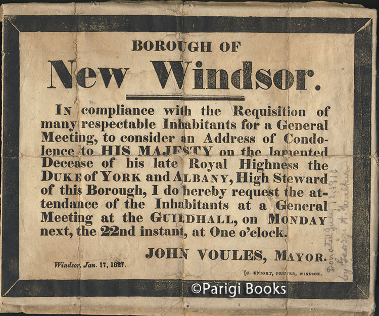 Borough of New Windsor Early 19th Century Broadside Issued for the Death of the Duke of York and Albany. England - Borough of New Windsor.