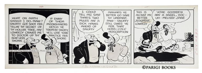 Barney Google and Snuffy Smith Daily Comic Strip Original Art Dated 5-27-49. Fred Lasswell.