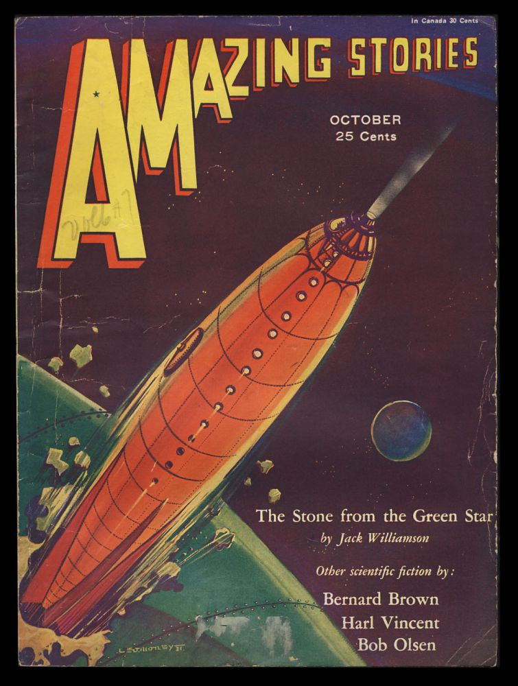 The Stone from the Green Star Part I in Amazing Stories October 1931. Jack Williamson.