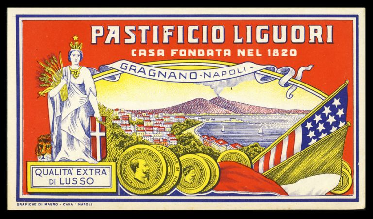 Vintage Pastificio Liguori Pasta Label. Italy - Naples - Pasta Crate Labels.