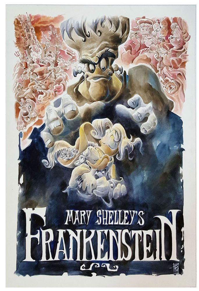 Mary Shelley's Frankenstein Original Painting Featuring Donald Duck and Daisy Duck. Paolo Mottura.