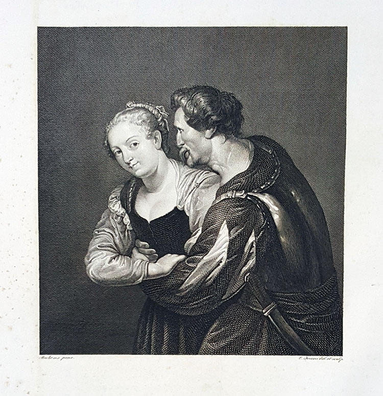 La contadina e il soldato. Etching from a Painting by Peter Paul Rubens. Cesare Ferreri.