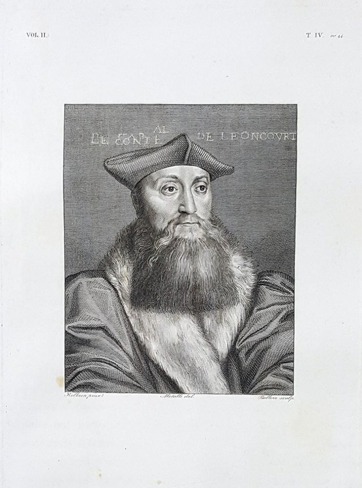 Il cardinale Roberto di Lenoncourt. Etching from a Painting by Hans Holbein. Giovanni Ballero, Lorenzo Metalli.