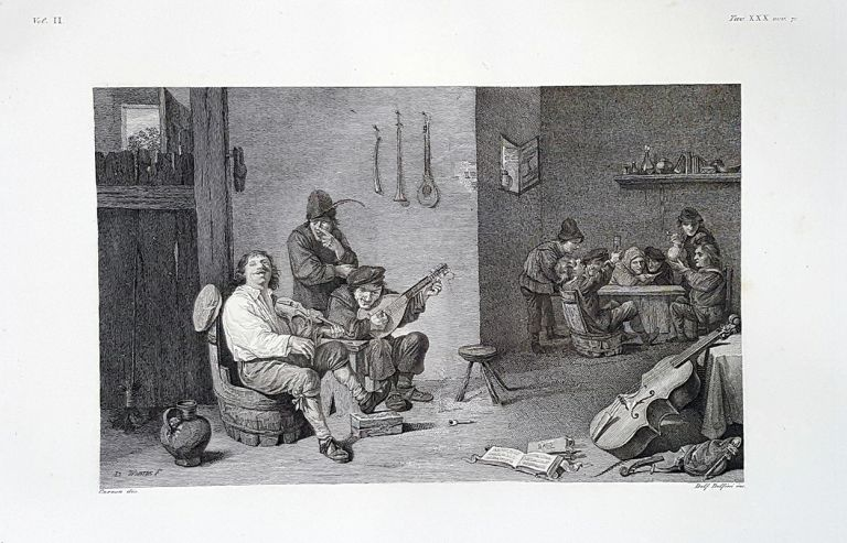 Interno di una taverna. Etching from a Painting by David Teniers the Younger. Delfino Delfini.