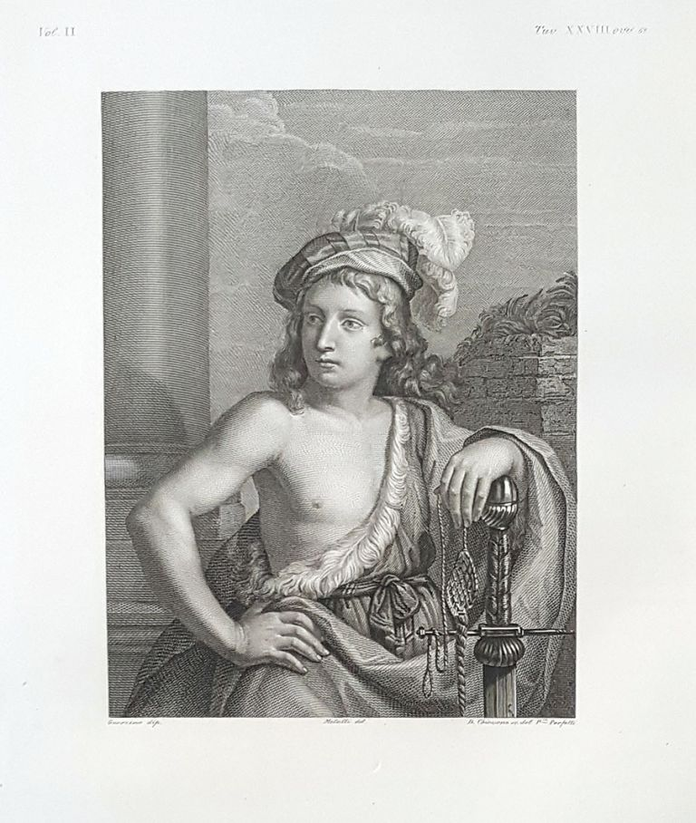 Davide vincitore di Golia. Etching from a Painting by Francesco Barbieri (Guercino). D. Chiossone, Lorenzo Metalli.