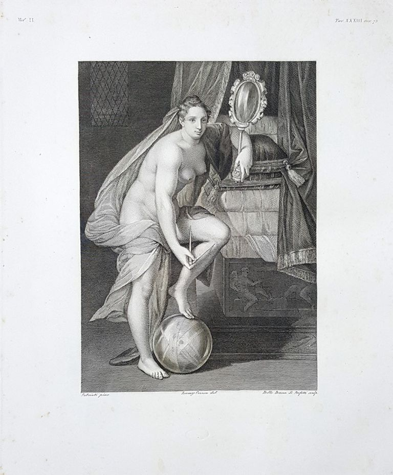 La geometria. Etching from a Painting by Francesco de Rossi (Salviati). Vincenzo Della Bruna, Antonio Perfetti, Lorenzo Ceresa.