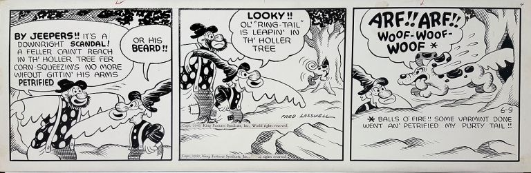 Fred Lasswell Barney Google and Snuffy Smith Daily Comic Strip Original Art Dated 6-9-49. Fred Lasswell.