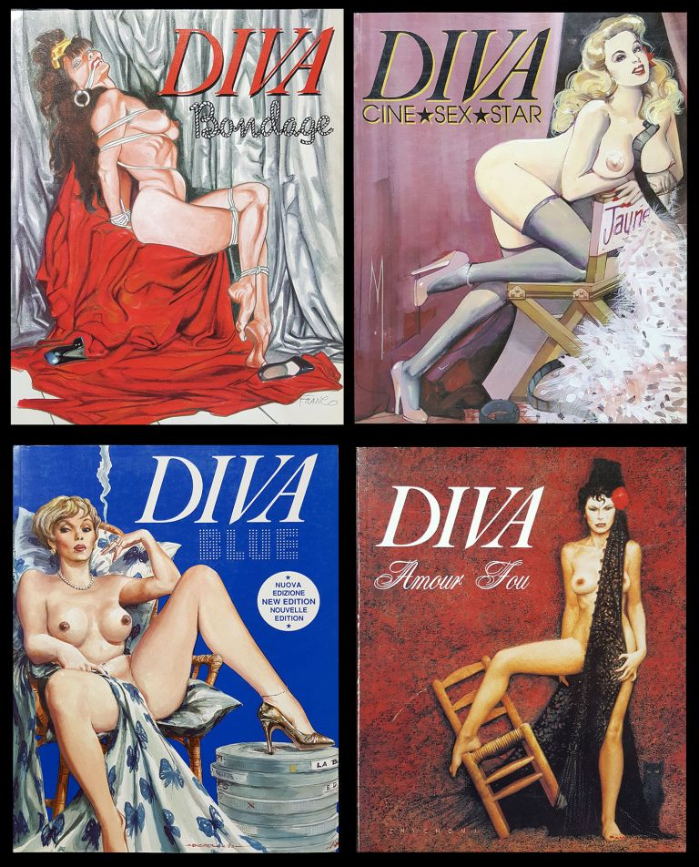 Diva Bondage: The History of Bondage in Modern Popular Art. Diva Amour Fou. Diva Blue: Our Choice of the Most Intriguing Erotic Movies. Diva Cine Sex Star: Our Beloved Sex Stars of the 1950s, 1960s & 1970s. Stefano Piselli, Riccardo Morrocchi.