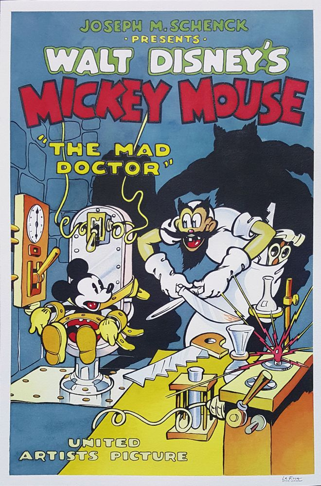 Angelo La Rosa Mickey Mouse in The Mad Doctor Original Art Recreation. Angelo La Rosa.
