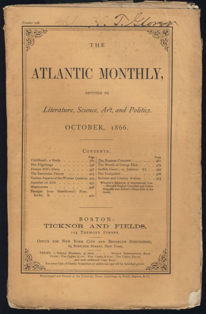 Passages From Hawthorne's Note-Books Part X in The Atlantic Monthly October 1866. Nathaniel Hawthorne.