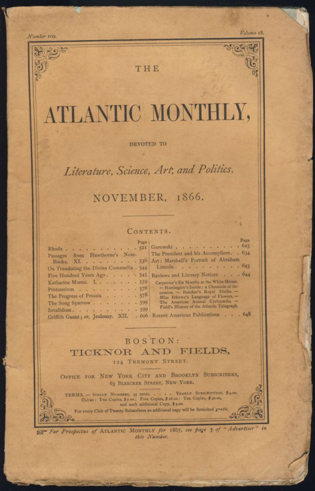 Passages From Hawthorne's Note-Books Part XI in The Atlantic Monthly November 1866. Nathaniel Hawthorne.