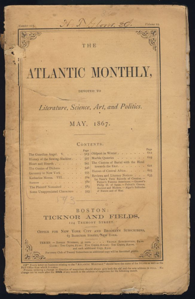 The Atlantic Monthly May 1867. James T. Fields.