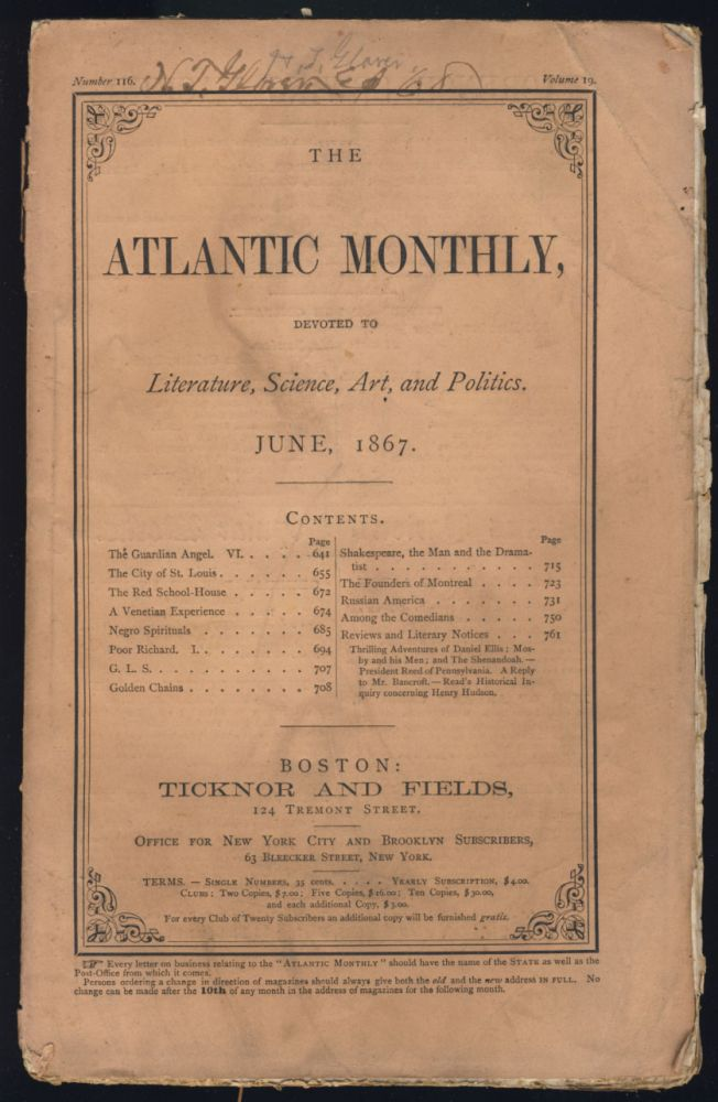 Negro Spirituals in The Atlantic Monthly June 1867. Thomas Wentworth Higginson.