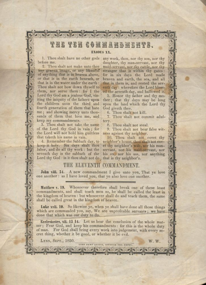 The Ten Commandments Printed Broadside. King's Lynn - Norfolk - England - Broadside.