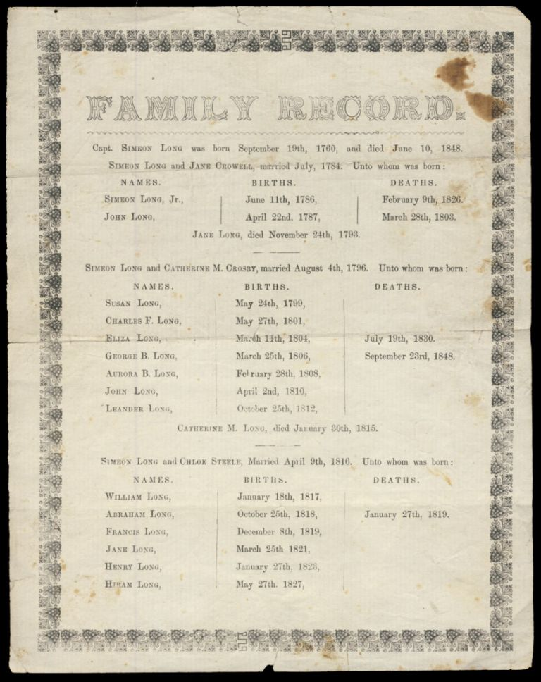 Family Record of [Captain] Simeon Long Printed Broadside. Genealogy - Family Records - Nantucket - Massachusetts.
