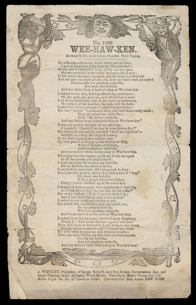 Wee-Haw-Ken, as Sung by the Great Vocalist, Tony Pastor. Broadside Ballads.