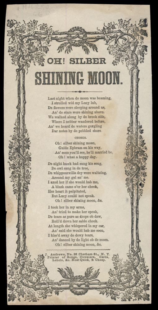 Oh! Silber Shining Moon. Broadside Ballads - L. V. H. Crosby.