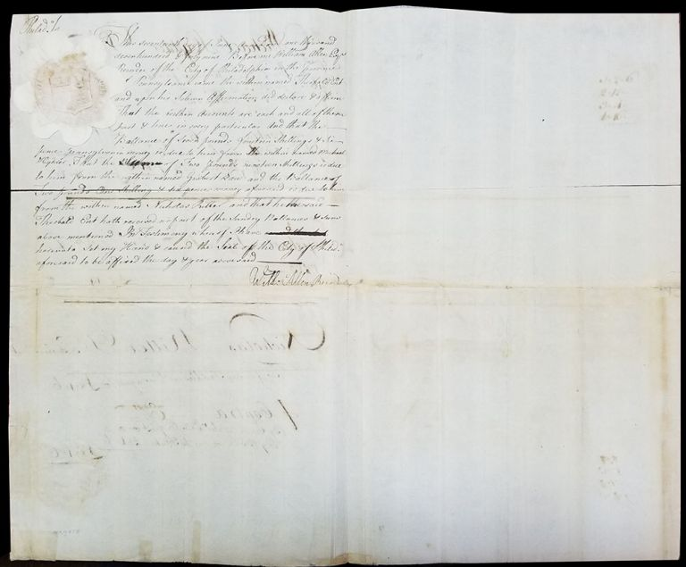 1749 Document Signed by Philadelphia Recorder William Allen Regarding Men's and Women's Saddles. William Allen.
