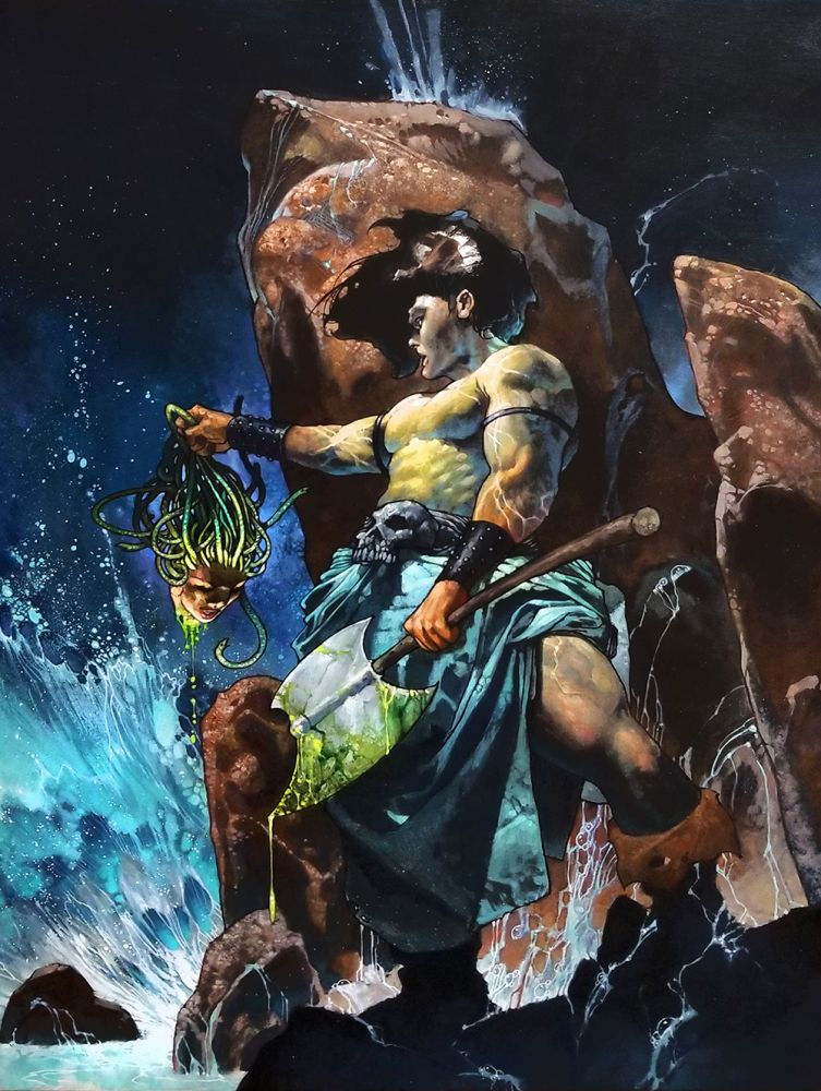 Simone Bianchi Conan the Barbarian Original Oil Painting Specialty Piece. Simone Bianchi.