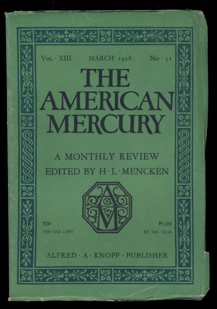 Pastorale in The American Mercury March 1928. James M. Cain.