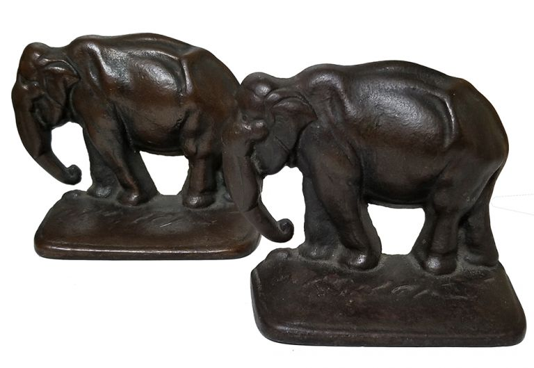 Pair of Vintage Bronzed Cast Iron Elephant Bookends.