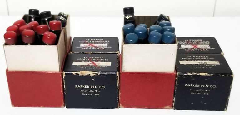 Set of 27 Vintage Parker Mechanical Pencil Lead Cartridges in the Original Containers and Boxes. Parker.
