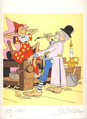 Pinocchio Signed and Numbered Limited Edition Print. Art by Luciano Bottaro. Luciano Bottaro