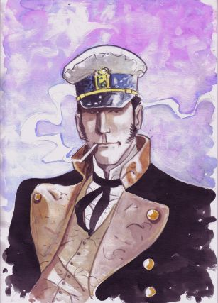 Corto Maltese Portrait Original Watercolor. Giancarlo Caracuzzo.