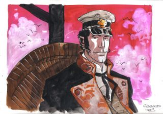 Corto Maltese Portrait #2 - Original Watercolor by Giancarlo Caracuzzo.