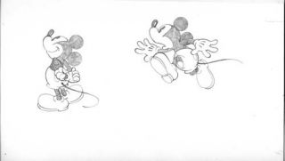 Mike Royer Mickey Mouse Running Original Art. Mike Royer