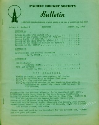 Pacific Rocket Society Bulletin August 10, 1953. Mary Leyh, Con Pederson, eds.