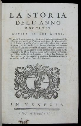 La storia dell'anno 1769. Divisa in sei libri. [bound with] La storia dell'anno 1770. Divisa in...