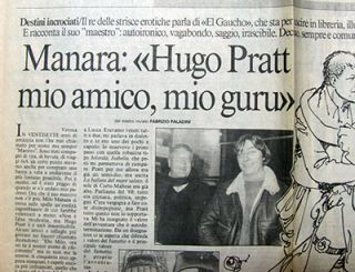Il Messaggero 17 Aprile 1996. (Article on Hugo Pratt and Milo Manara). Hugo Pratt.