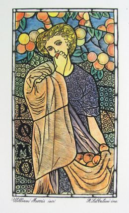 Stained Glass Window Arts and Crafts Lithograph. William Morris.