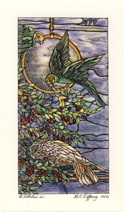 Stained Glass Window Art Nouveau Lithograph. Louis Comfort Tiffany