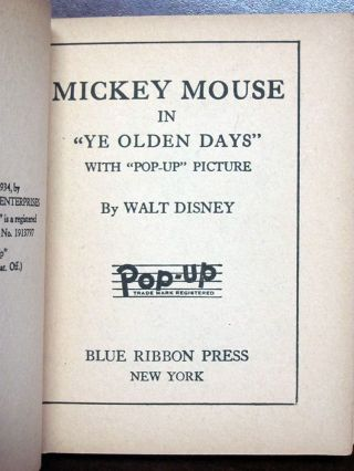 "Mickey Mouse in ""Ye Olden Days"" with ""Pop-Up Picture. (The Midget Pop-Up Book)."