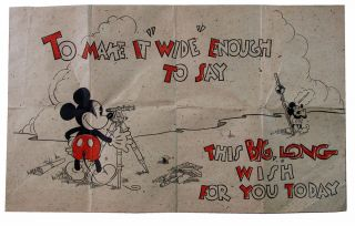 Mickey Mouse 1930s Large Folded Birthday Card.