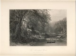 The Adirondacks Woods. Steel Engraving from a Painting by J. M. Hart. J. M. Hart, R. Hinshelwood