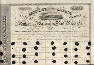 Rutland and Washington Railroad Co. $1000 Bond. State of Vermont - Rutland, Washington Railroad Co.