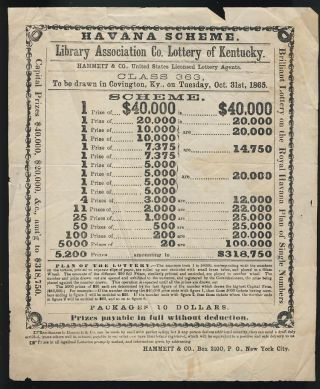 Broadside for Havana Scheme Drawing, Library Association Co. Lottery of Kentucky, to Be Drawn in...