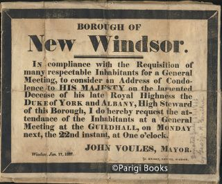 Borough of New Windsor Early 19th Century Broadside Issued for the Death of the Duke of York and...